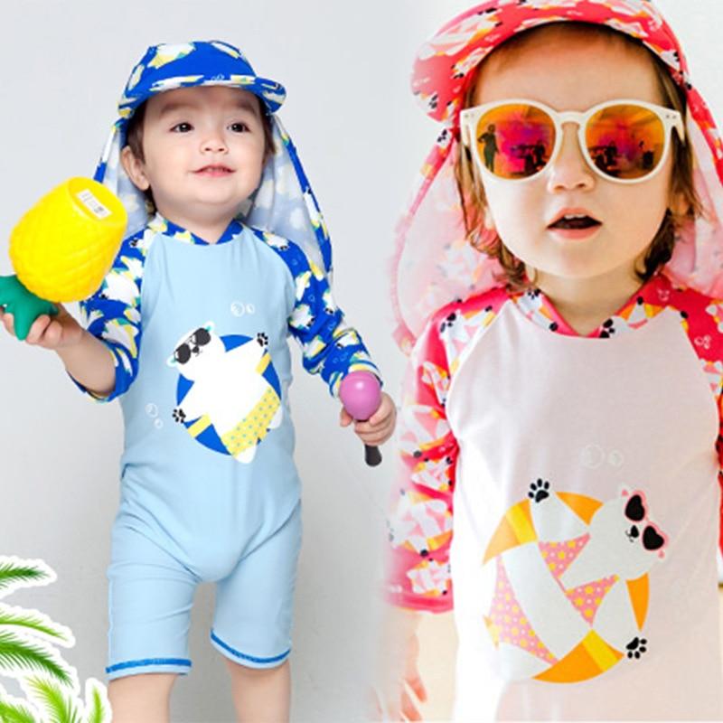 59cf5277a7630 2018 Newbaby Girls Swimsuit Bear One-piece Cartoon Boys Baby Swimwear Kids  Girl Bathing Suit Moana 2 - 8 Years Old To Wear