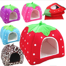 Multicolor Pet Supplies High Quality Dog House Soft Strawberry Cat Dog Bed House Kennel Doggy Warm Nest For Puppy Home