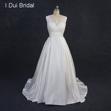 A Line Lace Satin Wedding Dress with Pocket Pleated Belt Illusion Tulle Lace Neck Factory Real Photo XJELS002(China)