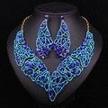 Moda Nupcial Conjuntos de Jóias Para Noivas Indianas Colares Declaração de Cristal Azul Brincos de Presente Acessórios Vestido de Festa de Casamento