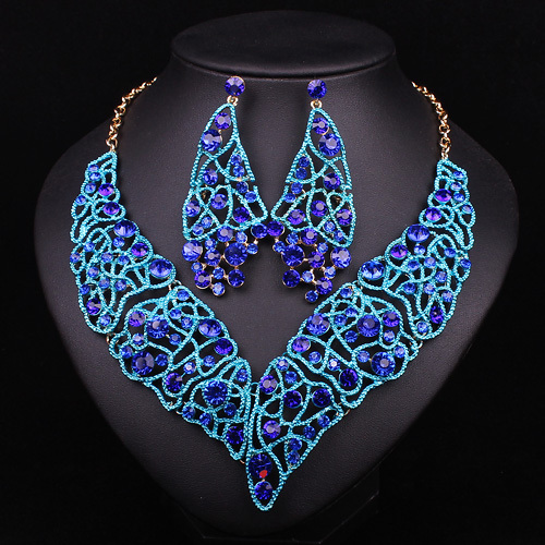 Moda Nupcial Conjuntos de Joyas Para Novias Cristal Azul Declaración Indio Collares Pendientes Del Banquete de Boda Vestido de Accesorios de Regalo