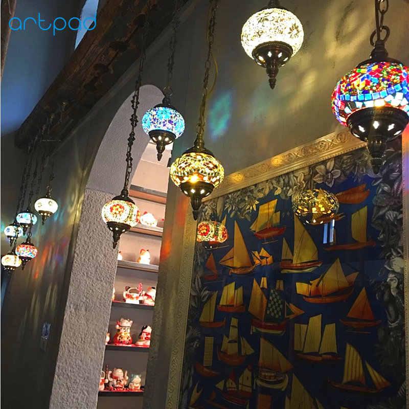 모로코 매달려 램프 스테인드 글라스 빈티지 펜던트 램프 수제 스테인드 글라스 주방 바 터키어 모자이크 램프