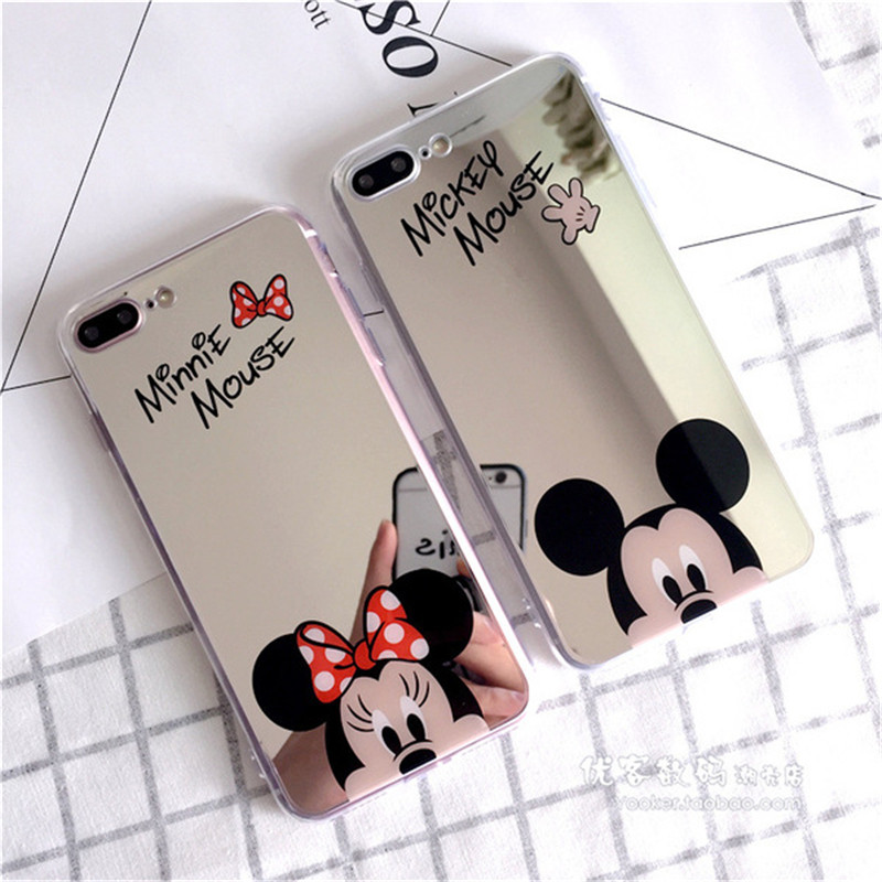 Lovely Mickey Minnie Mirror Phone Case For iPhone X 8 7 6 Plus 5 Case Plating Soft TPU Silico Cover For Samsung S9 S8 Plus Note8