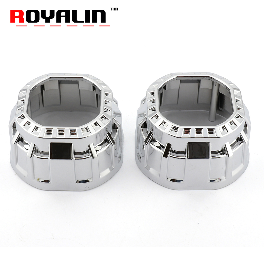 ROYALIN Projector Lens Shrouds for Mini Gatling Gun Square Shrouds Finish Chrome Auto Head Lamp Masks For Xenon Lens Retrofits
