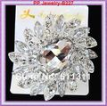 No Minimum Order 1 Piece Retail!2.8 Inch Huge Silver Large Glass Rhinestone Wedding Bouquet Brooch Bridal Dress Flower Brooch