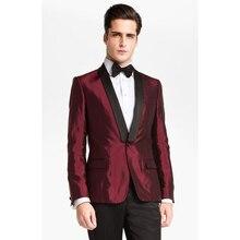 New Style Burgundy Satin Men Suit Slim Fit 2 Piece Tuxedo Custom Prom Style Suits Groom Prom Blazer Masculino (Jacket+Pants)