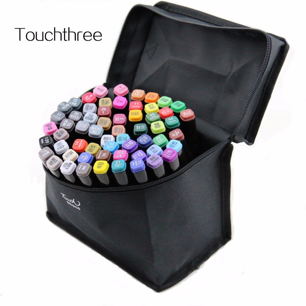 Permanent Sketch Book: 60 PiecesTouchthree Marker Pen Sets Oily Alcohol Marker