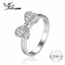 JewelryPalace Bow Cubic Zirkonia Anniversary Wedding Ring Naisten Soild 925 Sterling Hopea Korut Tyttö Party Friend Lahja