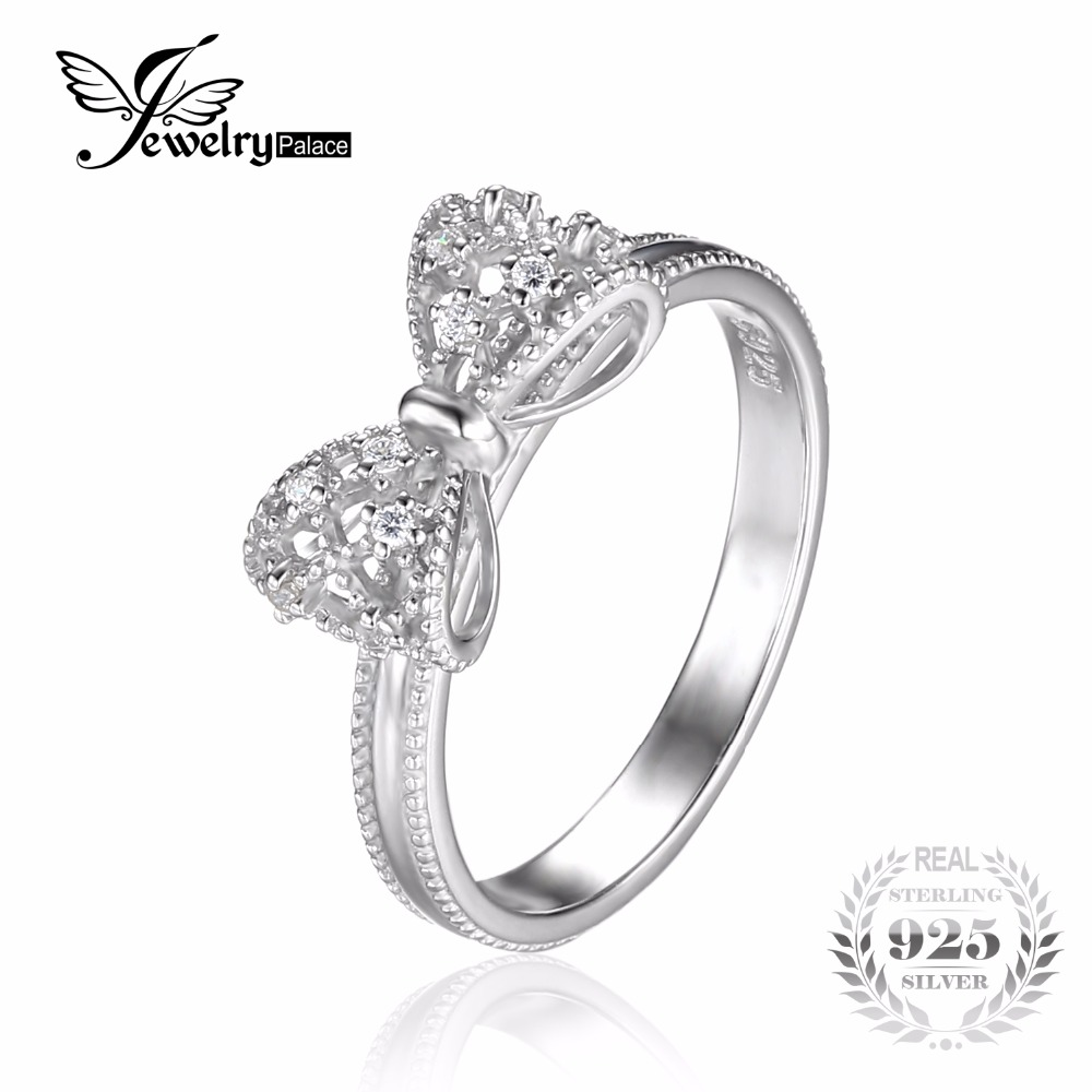 JewelryPalace Bow Cubic Zirconia Anniversary Wedding Ring For Women Soild Sterling Silver