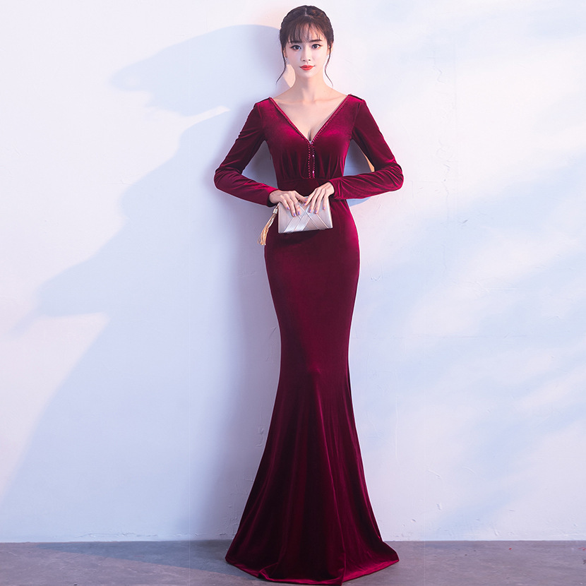 2018 On Sale Deep V-neck Self-cultivation Black Evening Dress Superior Taffeta Cap Sleeve Mermaid Court Train Full Dress Evening Dresses