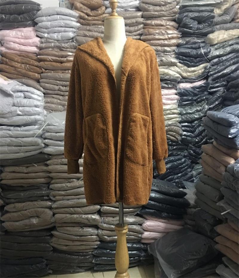 HTB1bHsKO4jaK1RjSZFAq6zdLFXa4 S-5XL Faux Fur Teddy Bear Coat Jacket Women Fashion Open Stitch Winter Hooded Coat Female Long Sleeve Fuzzy Jacket 2018 Hot New