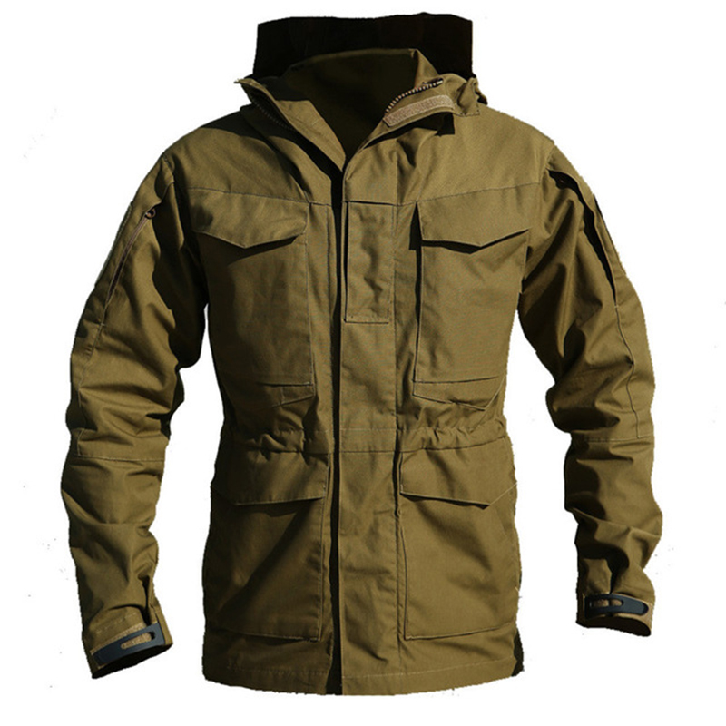 M65 Великобритании армии США одежда Открытый тактический ветровка Для мужчин зима-осень Куртка из искусственной кожи PU балахон Военная Поле...