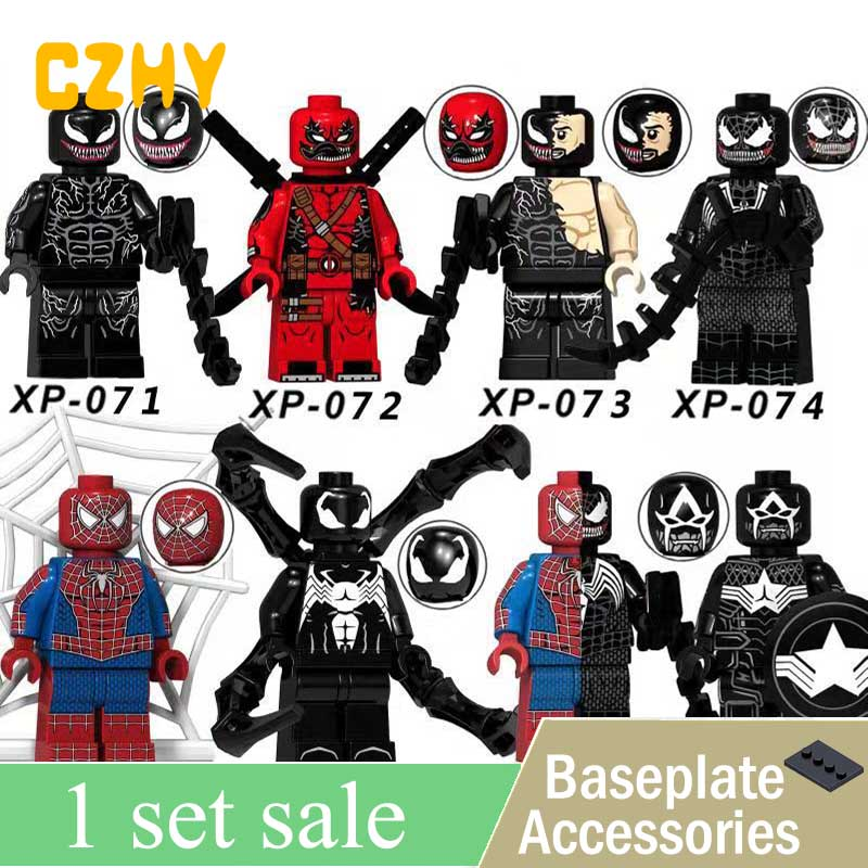 XP071-078 Venom Wolverine Deadpool Spiderman Iron Man Captain American Super Heroes Action Building Blocks Children Gift Toys недорго, оригинальная цена