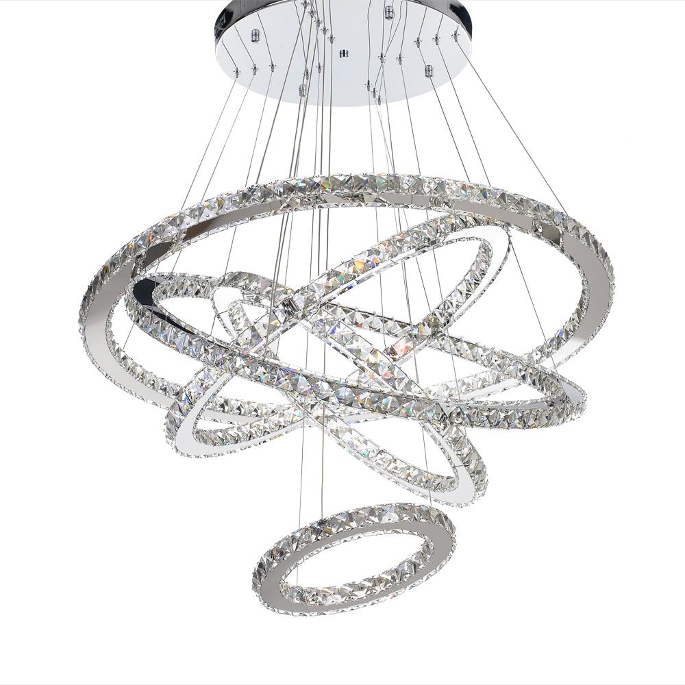 MEEROSEE Modern LED Chandelier Light Fixture LED Crystal Rings Hanging Lamp 5 Circle LED Lighting Stair