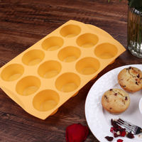 Liflicon Silicone Muffin Pan Non Stick Tin Cupcake Mold 12 Cup Cookie Cake Forms Muffin Top