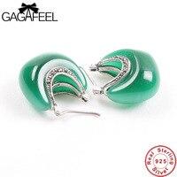 GAGAFEEL 100% Real 925 Sterling Zilveren Sieraden Maan Vorm Opal Earring voor Vrouwen Vrouwelijke Geschenken Classic Mode-sieraden Dropship