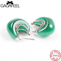 GAGAFEEL 100 Real 925 Sterling Silver Jewelry Moon Shape Opal Earring For Women Female Gifts Classic