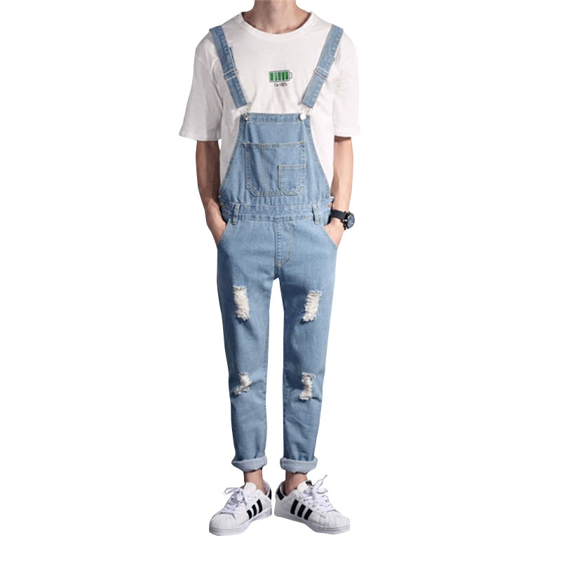 Creative Mens Fashion Jeans Europe And The United States Strap Men Simple Pants Hole Jumpsuit Mens Casual Bib Jeans For Men Pants Men's Clothing