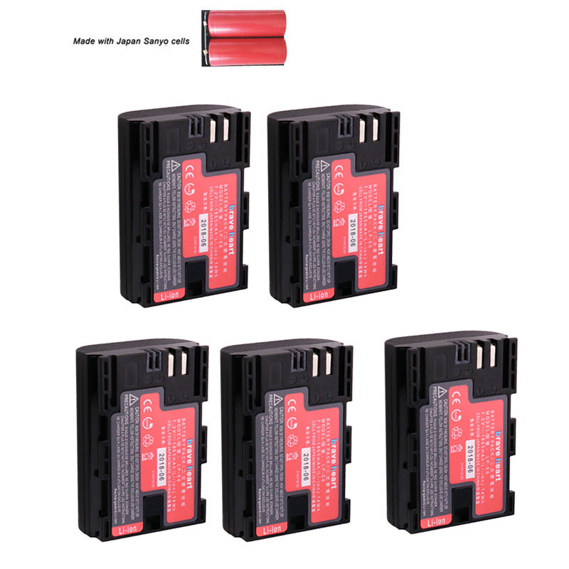 5x Japan Sanyo Cell Bateria LP-E6 LPE6 LP E6 E6N Camera Battery Pack For Canon DSLR EOS 5D Mark II Mark III 60D 60Da 7D 70D 6D