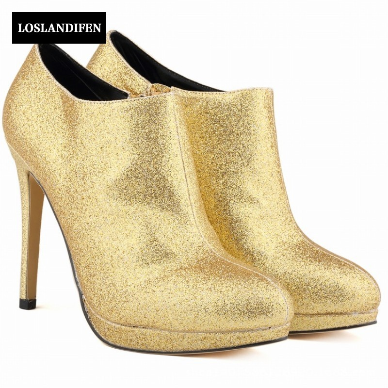 Warm Winter British Ladies Shiny Sequins Leather Ankle Boots Punk Woman Supper High Heels Gold Silver Red Knight Club Boots