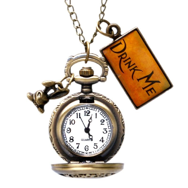 Alice In Wonderland Drink Me Pocket Watch Necklace Rabbit Flower Key Gift Hollow Half Hunter Steampunk Women Girl Kid Pendant