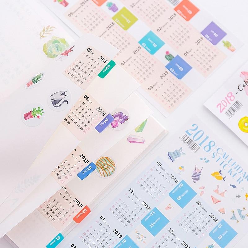 Kalender Unparteiisch 2 Teile/satz 2019 Kreative Kalender Aufkleber Label Index Aufkleber Zeitplan Planer 2019,02 ~ 2020,04 Office & School Supplies