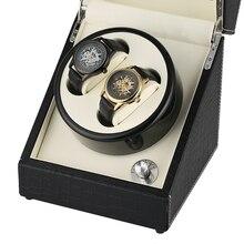 Крокодил автоматический виндер механических часов белый карбоновое волокно двойной часы коробка с подзаводом тихий мотор часы коробка для хранения ювелирных изделий