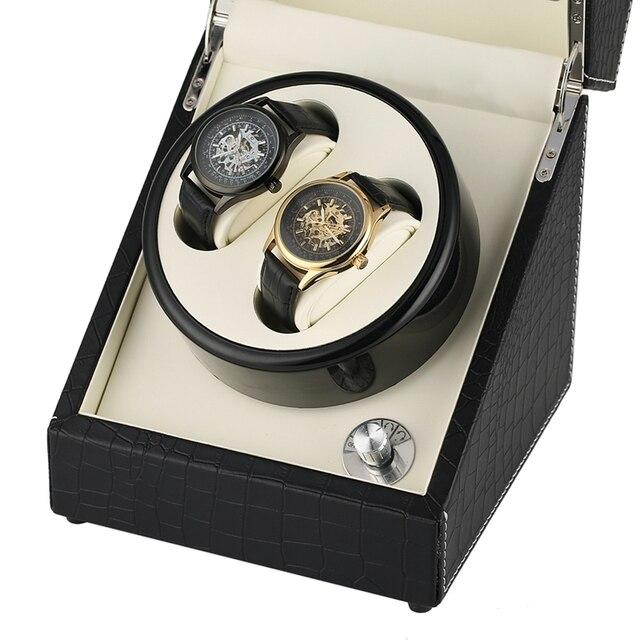 Krokodyl automatyczne mechaniczne pokrętło zegarka biały węgiel podwójny zegarek uzwojenia pole cichy silnik zegarki pudełko do przechowywania biżuterii