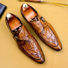 Shoes Monk-Strap Formal-Dress Handmade Elegant Genuine-Leather Footwear Pointed-Toe Party