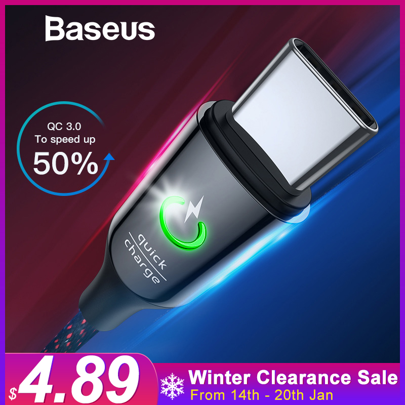 US $4.99 50% OFF|Baseus Intelligent Power Off QC 3.0 USB C Cable for Samsung S9 18W Fast Charge Indicator USB Cable Typc C Charge Cord for Mi 8 -in Mobile Phone Cables from Cellphones & Telecommunications on Aliexpress.com | Alibaba Group
