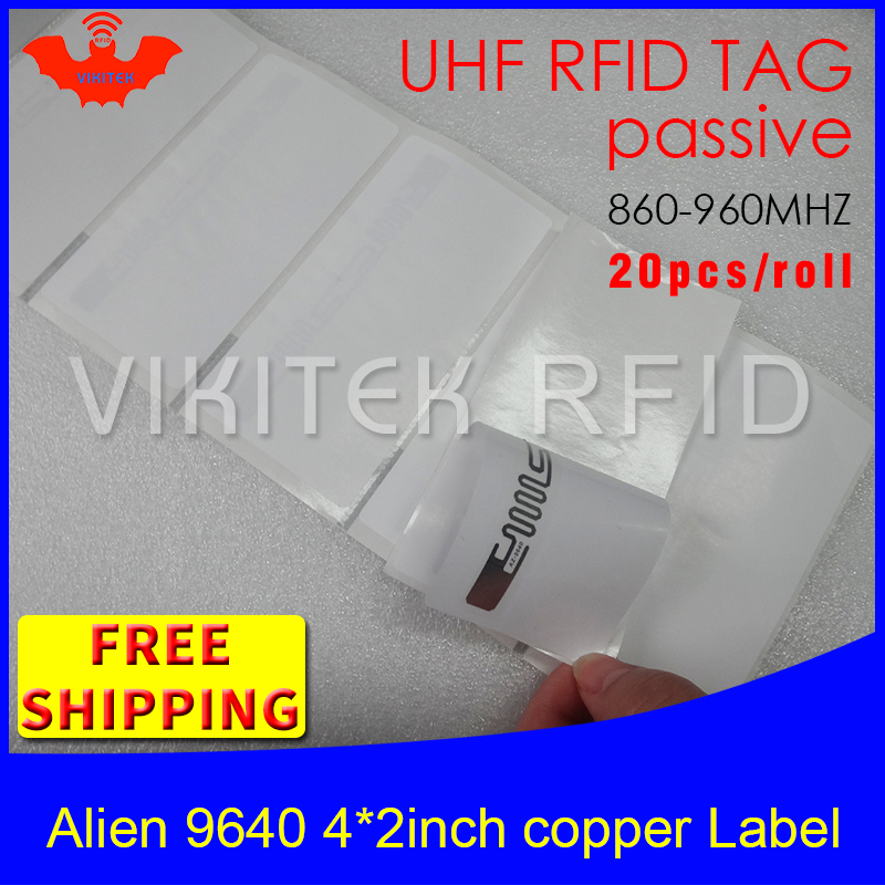 UHF RFID tag sticker Alien 9640 printable copper label 860-960mhz Higgs3 EPC 20pcs free shipping self-adhesive passive RFID labe 860 960mhz long range passive rfid uhf rfid tag for logistic management