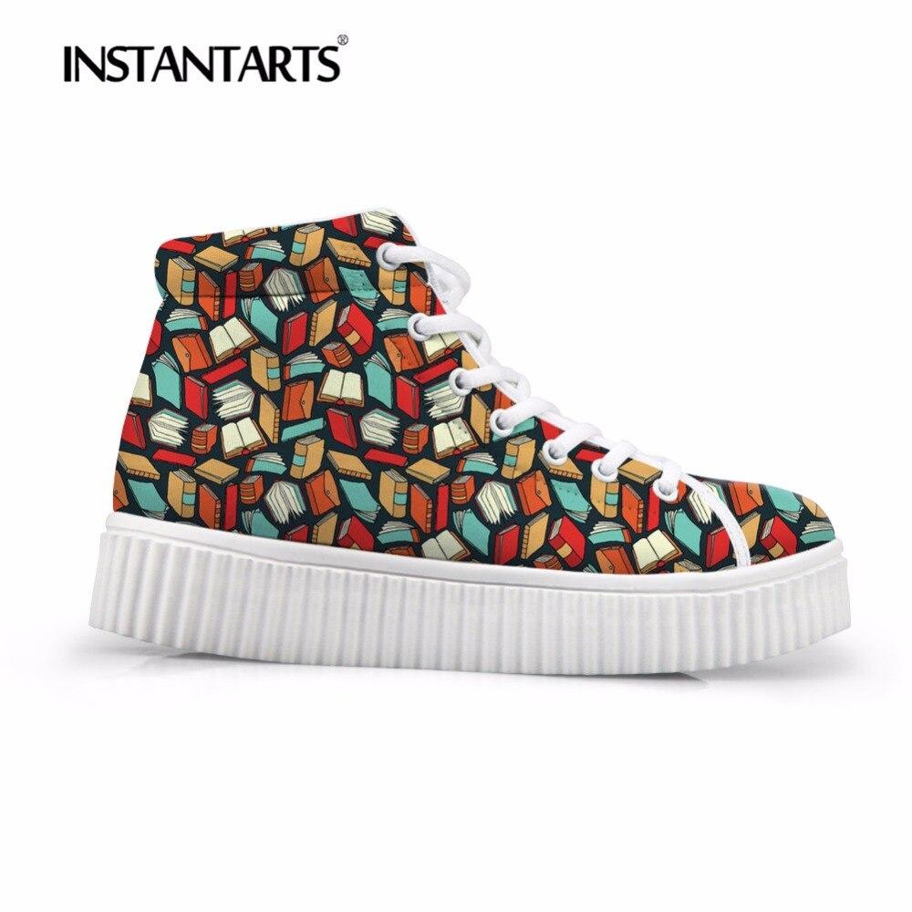 INSTANTARTS 3D amant livre imprimer femmes automne plate-forme décontracté respirant haut plat chaussures Zapato hauteur augmentant