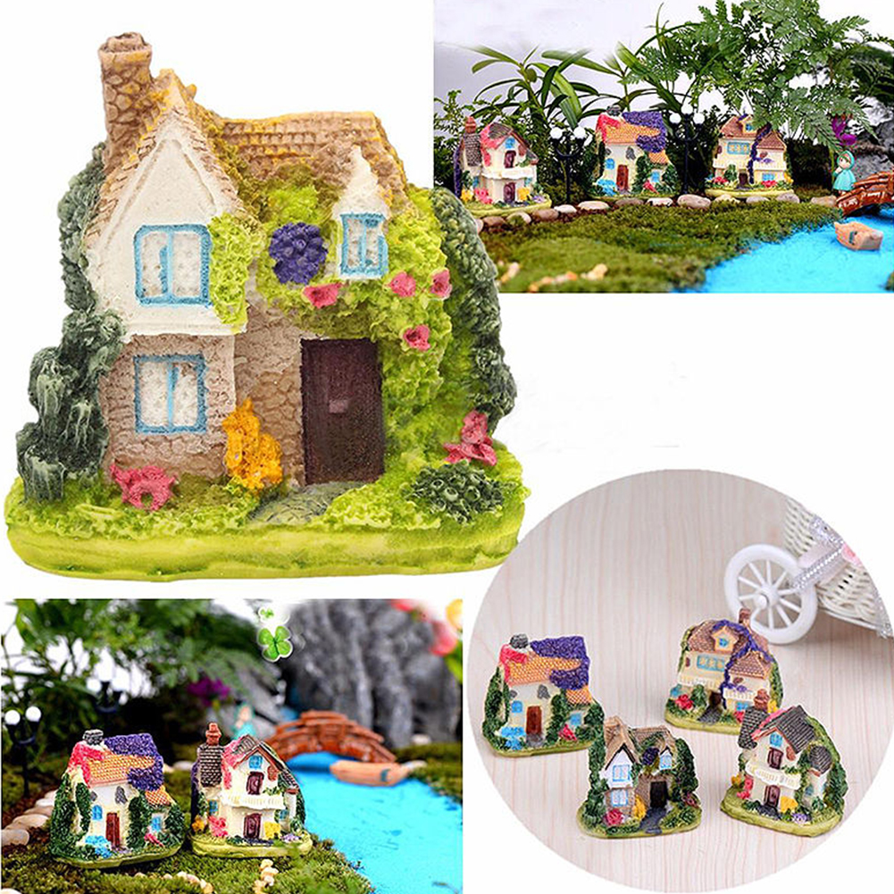 New 1pc  Fairy Garden Miniature Resin Thatched House Micro Landscape Ornament Decor Home Small Souvenirs