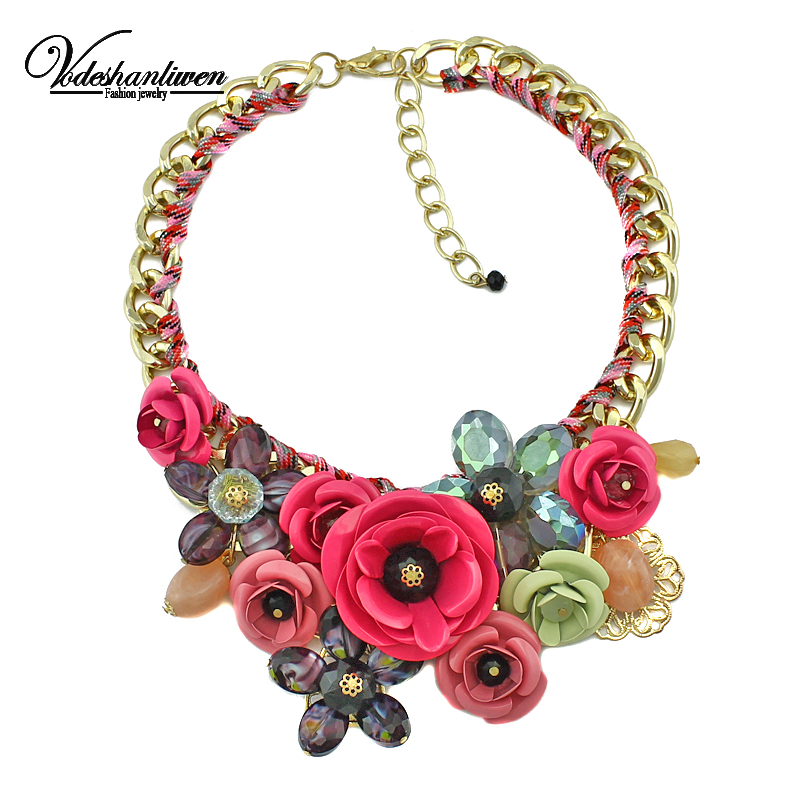 Vodeshanliwen New Brand Paint Metal Flower Necklace Crystal Necklaces & Pendants For Women Wedding jewelry Vintage Collar Choker все цены