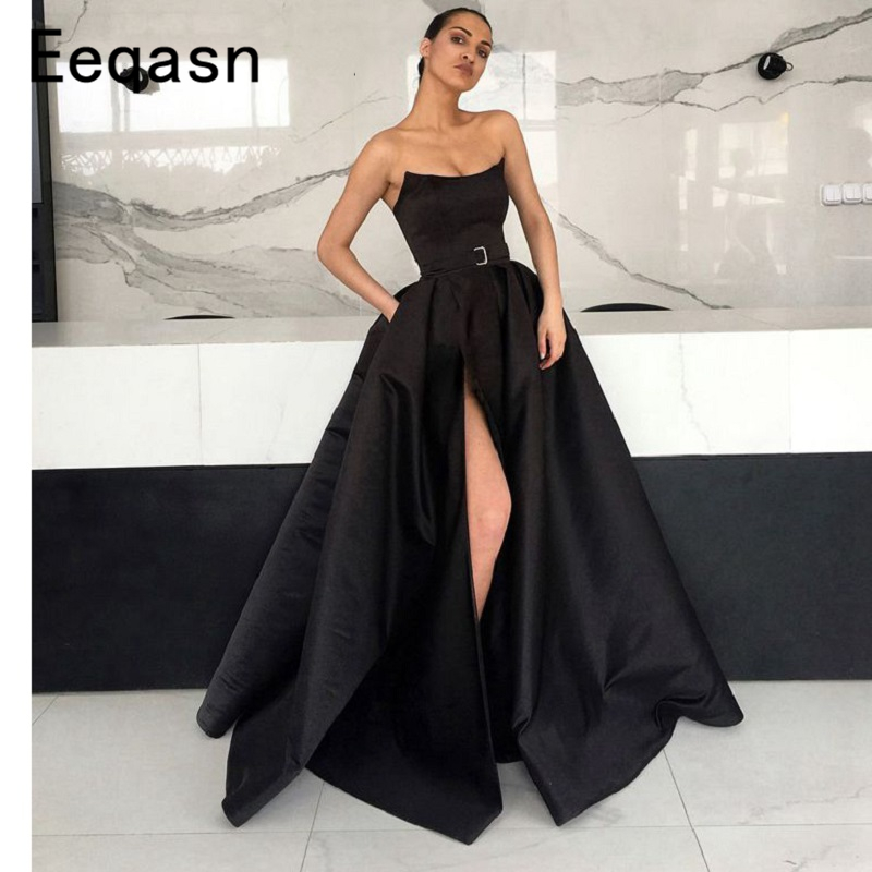 Sexy Black Evening Dress Long 2019 Off the Shoulder Sleeveless Slit Satin Women Formal Prom Dresses Party Gown Plus Size