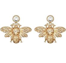 Charmcci Rhinestone Crystal Insect Gold bumble honey Bee Stud Earrings honeybee earrings for Women Girls Jewelry RH0804083