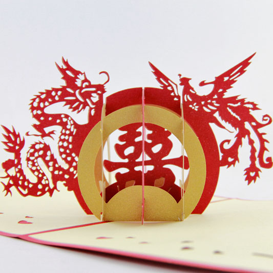 Handmade 3D Pop-Up Greeting Card - Chineser - Happy Wedding  Chinese Traditional Wedding Stamp creative gifts 3d pop up card greeting