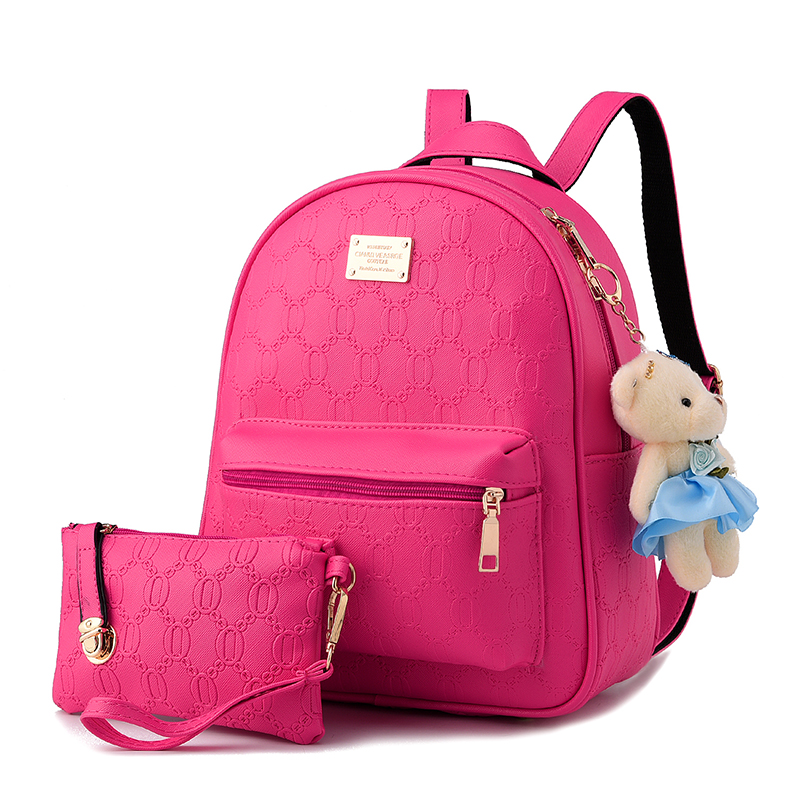 Large capacity small bear ornaments woman backpack. Japanese and Korean high-quality PU material fashion solid color embossed люстра fire small ornaments