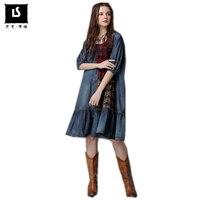 Spring Autumn New Personality Dress Women Casual Vintage Patchwork Hit Color Dress Half sleeve O Neck Loose retro Denim Dresses