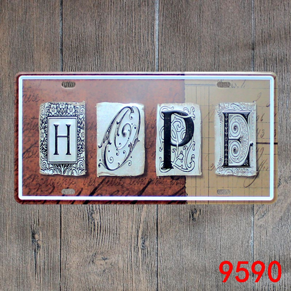 Car number  HOPE  License Plates plate Vintage Metal tin sign Wall art craft painting 15x30cm