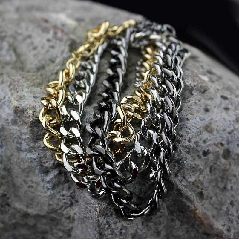 Moda Curb kubański Link Chain bransoletki dla kobiet mężczyzn Punk srebrny złoty czarny kolor Chunky bransoletka 2019 Hip Hop proste biżuteria
