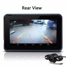 NEW Arrival 7″ Dual lens Car DVR Camera Rear view camera GPS Navigation Full HD 1080P G-Sensor with Car Radar detector 16GB Rom
