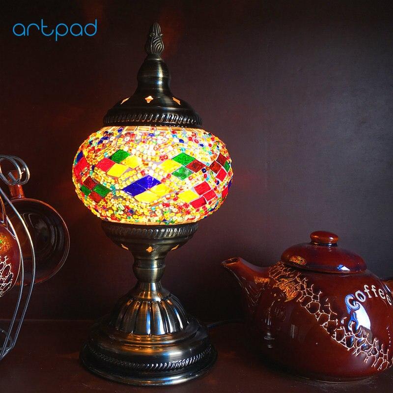 Artpad E14 Handmade Mosaic Table Lamp European Mediterranean Style Coffee Bar Living Room Bedside Retro Turkish