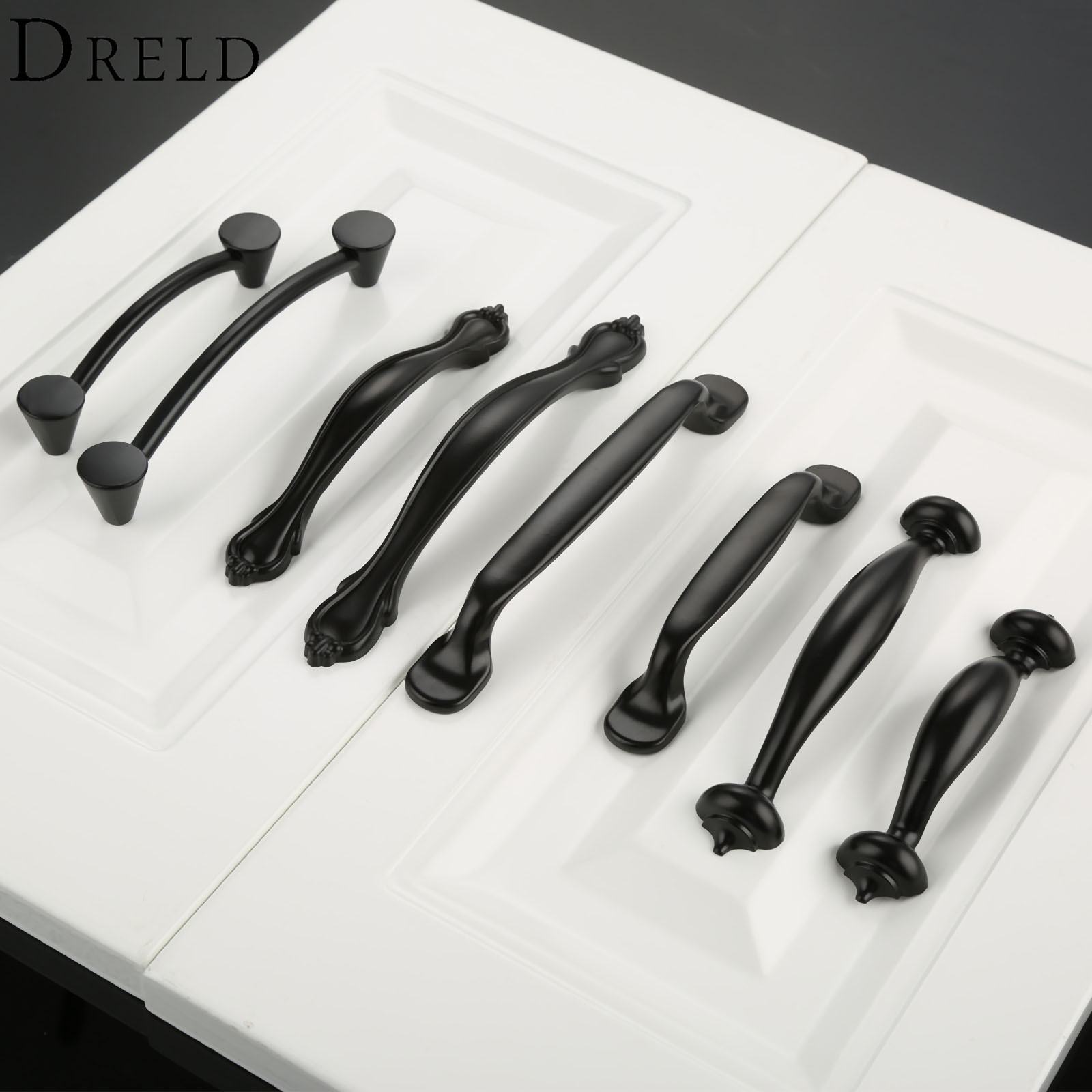 DRELD Zinc Alloy Black Furniture Handle Cabinet Knobs and Handles Cupboard Wardrobe Kitchen Door Pulls Handle Furniture Hardware 10 inch long cabinet handles and knobs drawer pull for furniture and cupboard simple wardrobe handle zinc alloy door handle