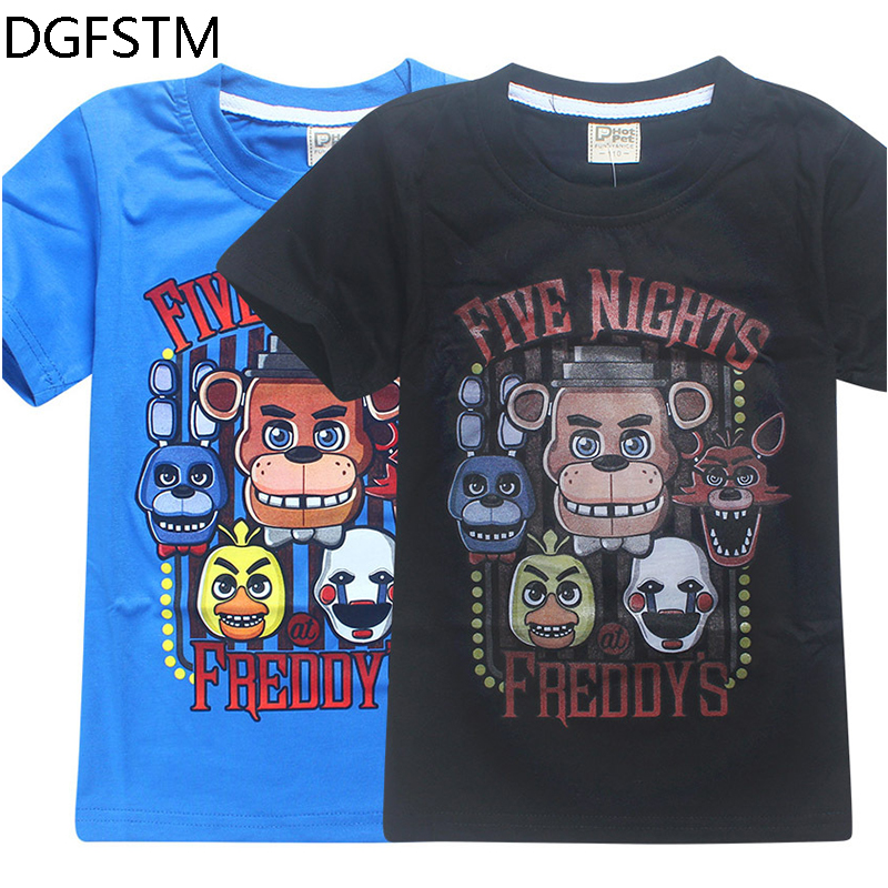 new Fashion cartoon fashion childrens Clothes FNaF short Sleeve T-shirt For boy Descendants baby girls tops tshirt 100%cotton
