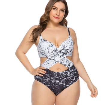 Plus size one piece swimsuit crisscross swimwear women high cut out monokini push up swimming suit large sizes swimsuit female
