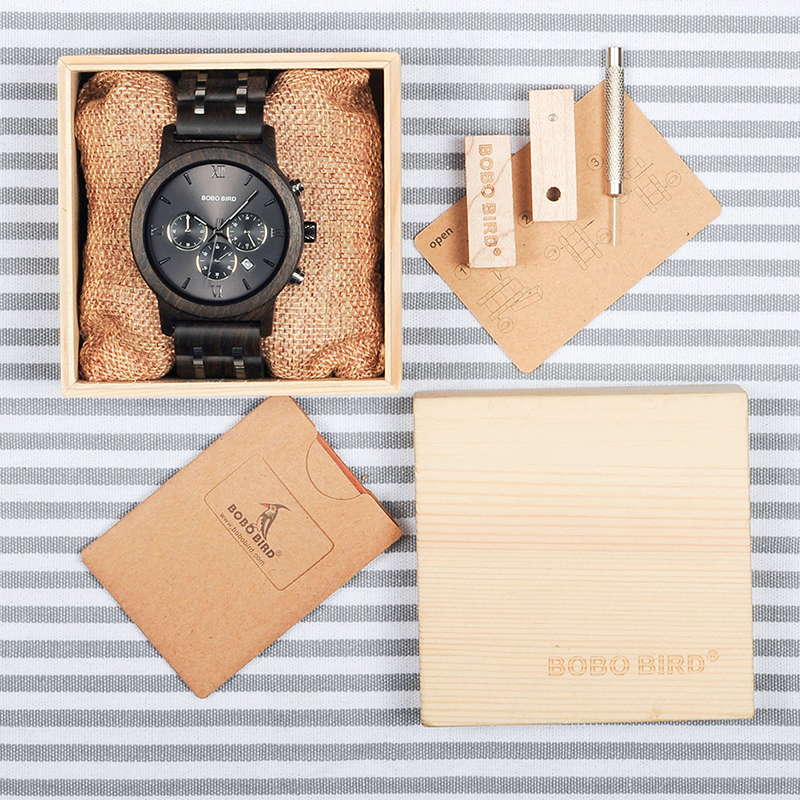 Bamboo Wooden Business Luxury Stop Watch w/ Stainless Steel Band 5