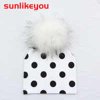 Sunlikeyou Newborn Baby Boy Girl Kids Artificial Fur Caps Spotted Cotton Soft Toddler Bonnet Faux Fur Pom Pom Warm Baby Hats