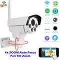 Full HD 1080 P Bala Câmera IP Wi-fi Ao Ar Livre PTZ 4X Pan Tilt Zoom Auto Foco 2.8-12mm 2MP IR Sem Fio Onvif Cartão SD
