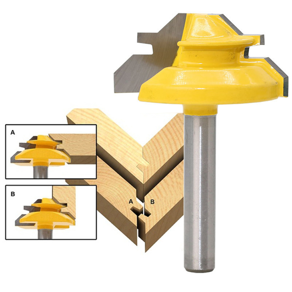 45 Degree Lock Miter Router Bit 1/4 Inch 1-3/8 Shank Woodworking Tenon Milling Cutter Tool Drilling Milling Wood Carbide Alloy